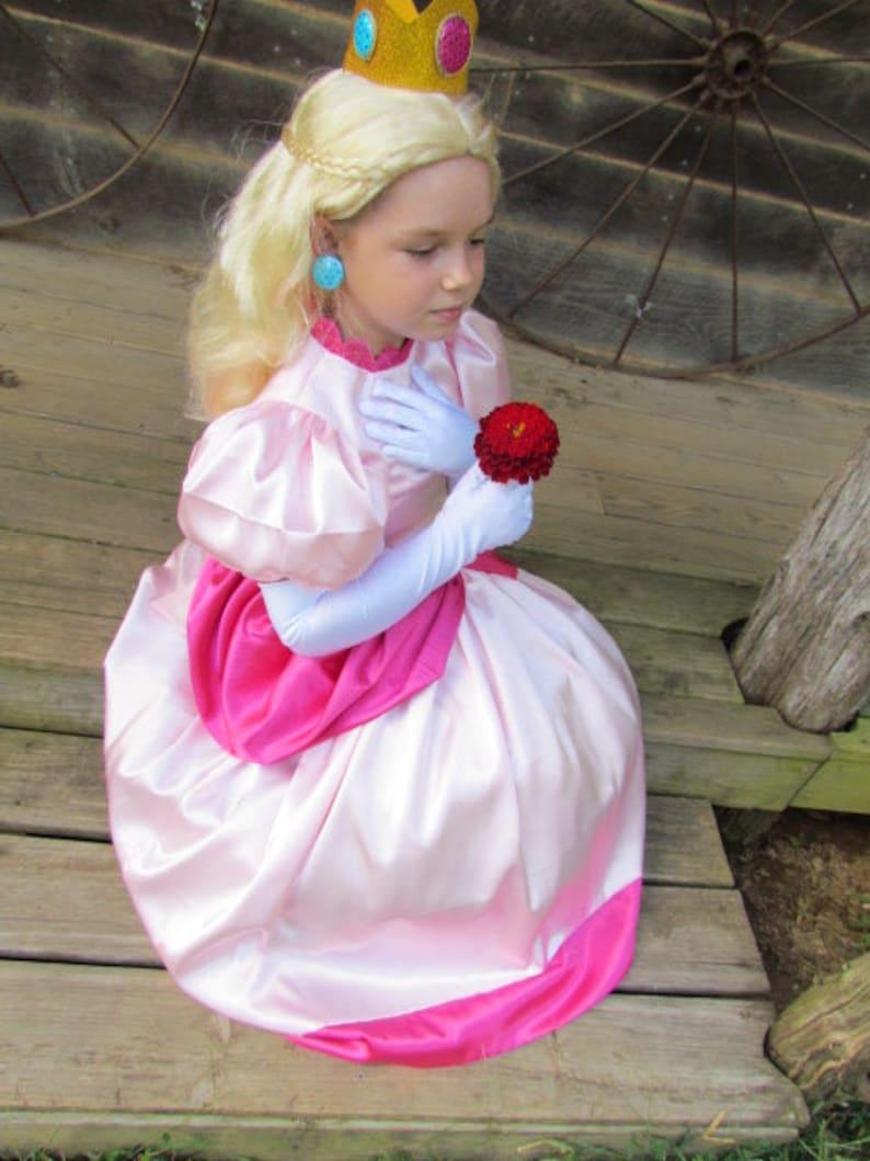 Princess Peach Dress Up Girls Pretend Quality Modest Mario Bros Halloween Cosplay Costume Adult Size