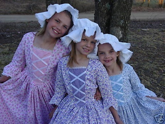 7c3bc263549d9 Williamsburg American Historical Pioneer Girl Clothing Costume Colonial  Girl Dress -Purple Flower Day Dress- Adult Size