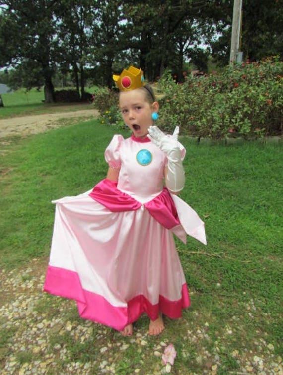 Mario Bros Dress Up Girls Pretend Princess Peach Halloween Etsy