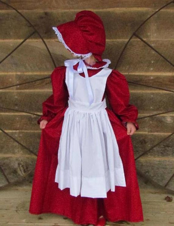Modest Quality Historical Clothing Girls Dress  Red Pioneer  Child Size by Etsy