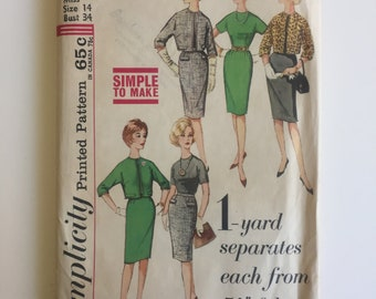 6bca3271459 Simplicity 4621 sewing pattern. 1950s fitted separates and jacket. Blouse