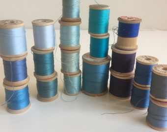 Vintage lot of Wooden Thread Spools for Sewing, Crafting, Jewelry - 20 BLUE Colors Display/decor