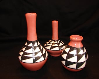 Southwestern Native American Inspired Pottery  Set of 3