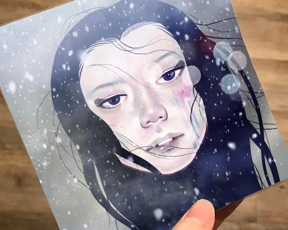 "5x5 ""SNOW WOMAN - 雪女 -"" Signed Japanese Woman Female Yokai Mini Print"