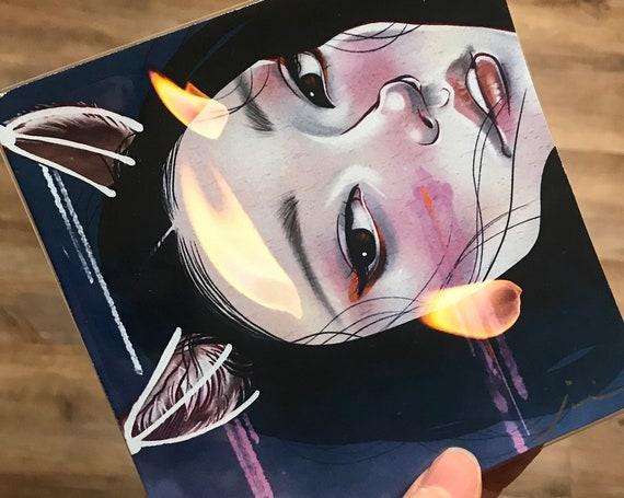 "5x5 ""KITSUNEBI - 狐火-"" Signed Japanese Woman Fox Yokai Mini Print"