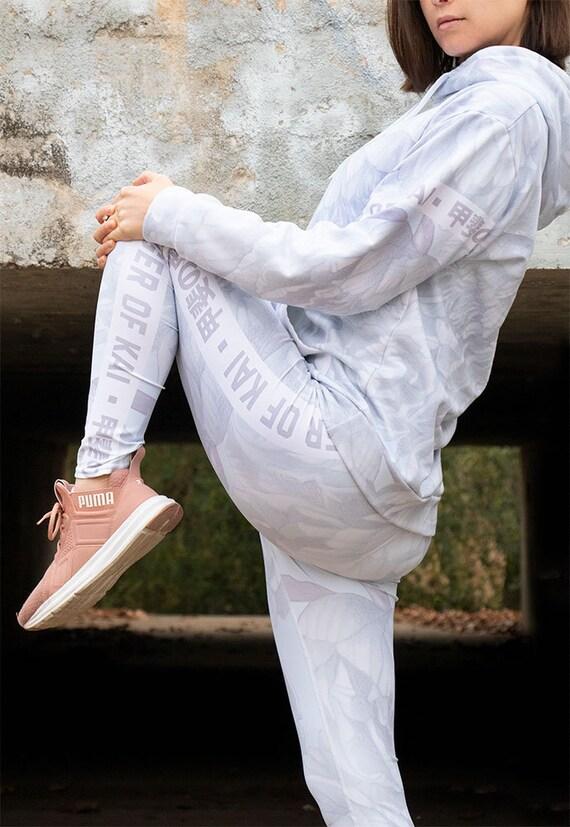 Yoga Leggings High Rise Light Flowers White Kanji Japanese Fierce Streetwear Trendy Fashion White Lavender Minimalist Athleisure
