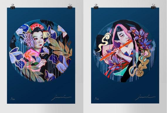 Ushiwakamaru + Fuji Musume — Signed JUURI Japanese Kabuki Mural Print