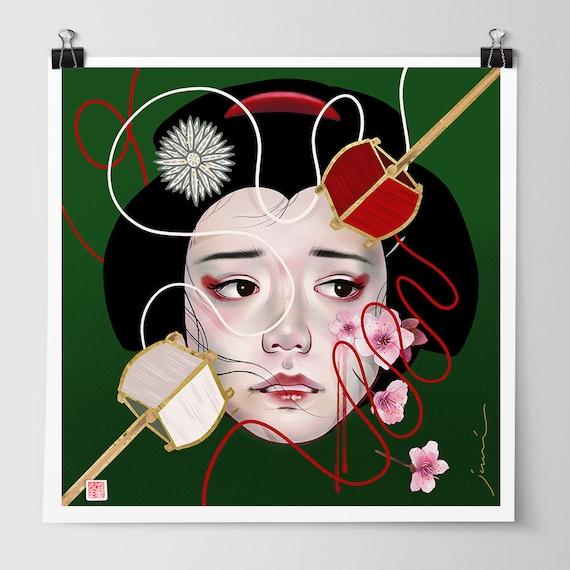 "8x8 ""The Blood of a Jealous Woman"" Signed Japanese Kabuki Art Mini Print"