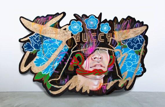 Masamune on Gucci | Original JUURI Japanese Artwork Painting on Red Oak Panel