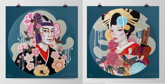 Fights & Fires 「火事と喧嘩」Signed Numbered 100 edition JUURI Japanese Kabuki Mural Print
