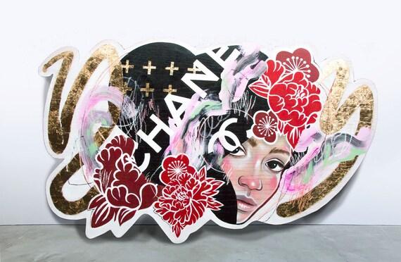 Lala On Chanel | Original JUURI Japanese Artwork Painting on Red Oak Panel