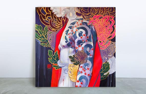 5 Thieves - 弁天小僧 - | Original JUURI Japanese Tattoos Irezumi Square Artwork Painting on Canvas