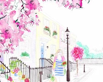 Digital Download - Watercolour Fashion Illustration Titled Strolling through Primrose Hill