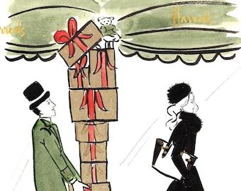 Christmas Shopping at Harrods Watercolour Fashion Illustration Wall Art Print. FREE Worldwide Shipping!