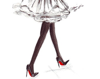 Walking in Louboutins Watercolour Winter Fashion Illustration Wall Art Print. FREE Worldwide Shipping!