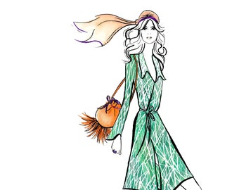 Digital Download - Watercolour fashion illustration Titled Seventies Chic