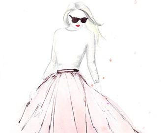 Pink Tulle Skirt Watercolour Fashion Illustration Wall Art Print. FREE Worldwide Shipping!