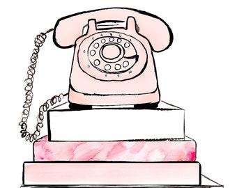Retro Pink Phone Fashion Watercolour Illustration Wall Art Print. FREE Worldwide Shipping!