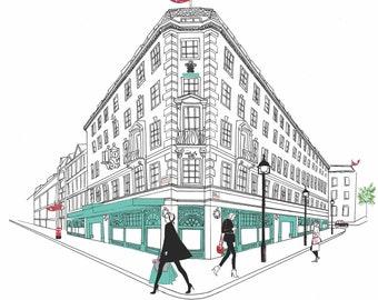 Shopping at Fortnum's Watercolour Fashion Illustration Wall Art Print. FREE Worldwide Shipping!