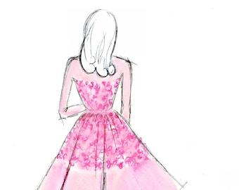 Pink Blossom Dress Watercolour Fashion Illustration Wall Art Print. FREE Worldwide Shipping!