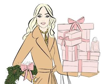 Christmas Gifts Watercolour Fashion Illustration Wall Art Print. FREE Worldwide Shipping!
