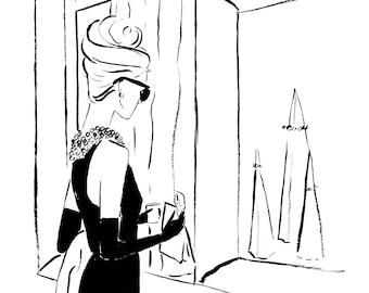 Audrey Hepburn Breakfast at Tiffany's Watercolour Illustration Wall Art Print. FREE Worldwide Shipping!