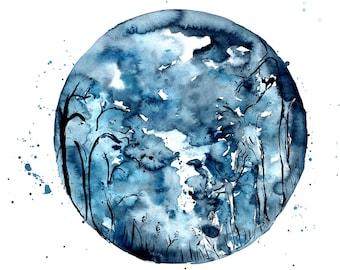 Blue Full Moon Watercolour Illustration Wall Art Print. FREE Worldwide Shipping!
