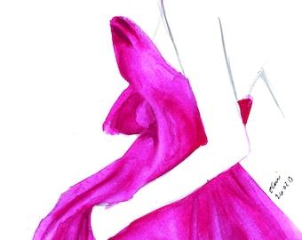 Couture Dress Watercolour Fashion Illustration Wall Art Print. FREE Worldwide Shipping!