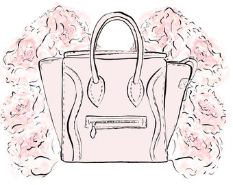 Celine Bag Watercolour Fashion Illustration Wall Art Print. FREE Worldwide Shipping!