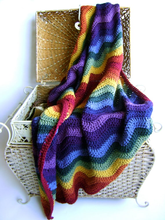Crochet Pattern For Rainbow Ripple Baby Blanket Easy Etsy