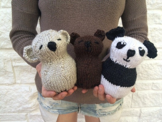 Three Little Bears Stuffed Toy Knitting Pattern Easy Etsy