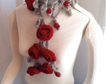 HALF OFF Hand Knit Roses Are Red Garland Scarf