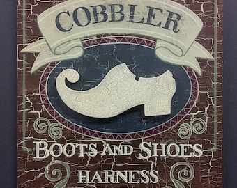 Vintage Style Cobbler Sign Hand Painted on Wood