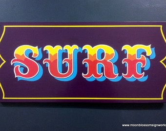 Hand Painted Surf Sign on Wood