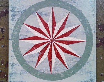 Red and White Barn Star Painting on Square Canvas