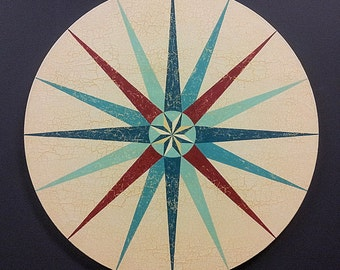 16 Pointed Barn Star Painting on Circular Canvas