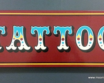 Hand Painted Tattoo Sign on Wood