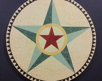 American Barn Star Painting on Circular Canvas