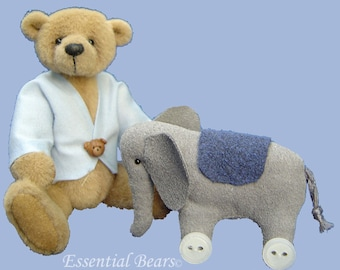 Luke Miniature Teddy Bear and  Elephant -  PDF pattern only