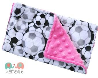 Burp Cloths Hot Pink Soccer Double Minky Burp Cloth - Sports - Girls - Baby Shower Gift - Nursing - New Mom Essentials, Burp Rag