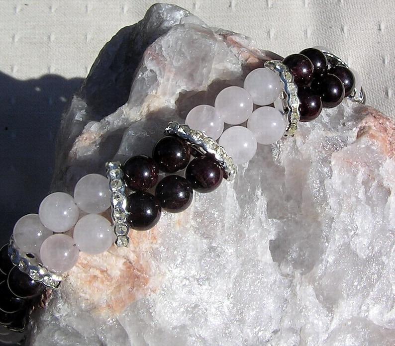 Garnet /& Rose Quartz Crystal Gemstone Bracelet Beaujolais Red Garnet Virgo Bracelet Pink Bracelet Chakra Bracelet Red Bracelet