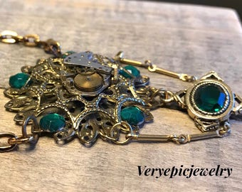Ornate Green Steampunk Watch Part Necklace Reclaimed Vintage Pendant Necklace