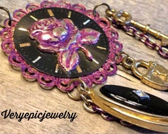 Purple Rose Vintage Watch Face Necklace Filigree Pendant Assemblage Necklace Lock and Key Necklace