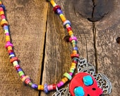 Bohemian Style Sugar Skull Necklace, Red Sugar Skull, Colorful Beaded Day of the Dead Necklace, Dia de los Muertos Necklace, Butterfly