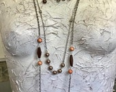 Clearance, Closeout, Bohemian Fringe Necklace, Multi Strand Necklace, Brown Boho Necklace, Statement Necklace, Assemblage Necklace