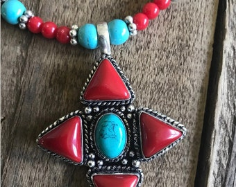 Turquoise Tribal Necklace, Turquoise and Red Coral Beaded Necklace, Native American Jewelry, Boho Necklace, Ethnic Necklace with Turquoise
