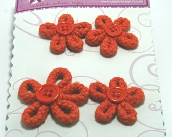 4 Orange Braided Daisy Flowers from Creative Charms
