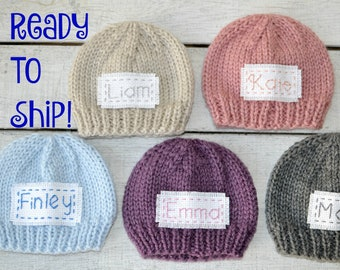 Personalized Newborn Baby Hat, Infant Coming Home Cap Newborn Name Hat, Ready To Ship New Baby Keepsake Photo Prop Beanie Over 50 Colors RTS