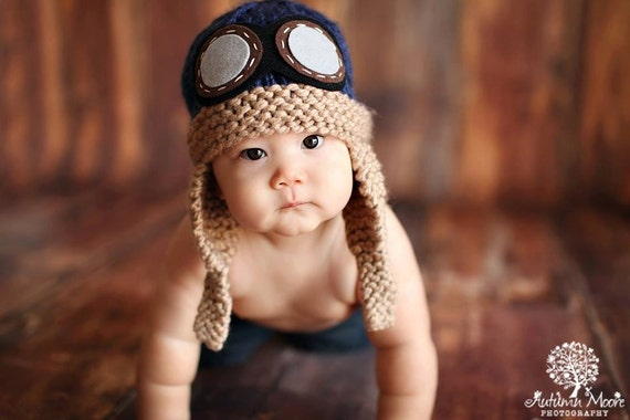 3cf857192ce Baby Pilot Hat Aviator Navy Blue Hand Knit Knitted Photo