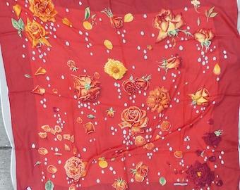 Authentic Hermes 140cm Cashmere Silk Scarf Shawl La Rosee